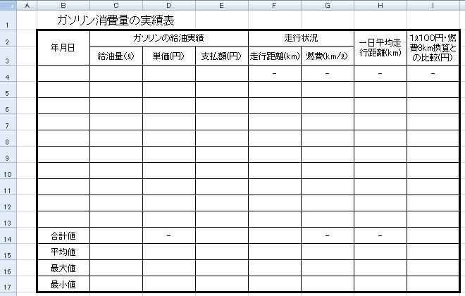 速攻Excel2007表の作成